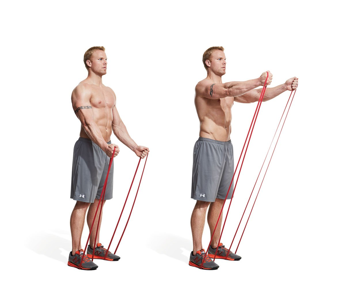 تمرین بدنسازی با کش برای عضلات شانه